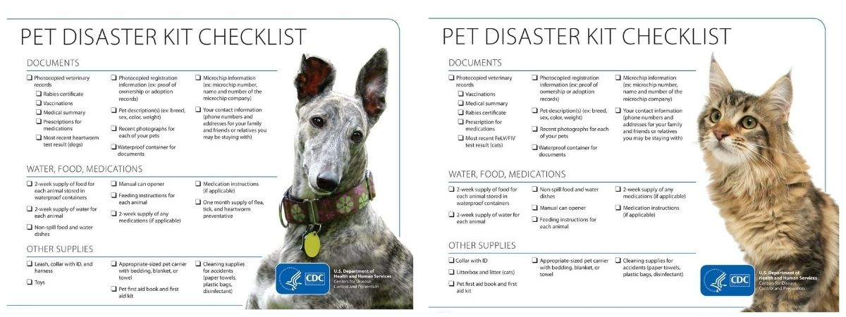 CDC Pet Disaster Checklist
