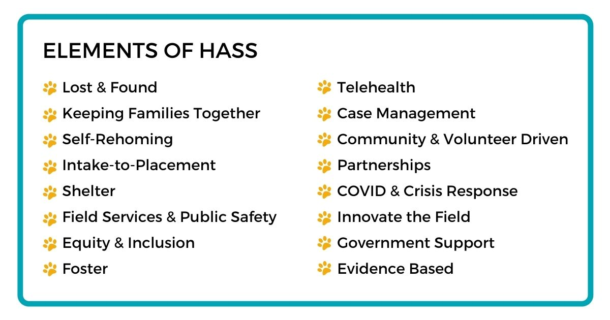 Elements of HASS - Lost and found, keeping families together, self-rehoming, intake-to-placement, shelter, field services and public safety, equity and inclusion, foster, telehealth, case management, community and volunteer driven, partnerships, COVID and crisis response, innovate the field, government support, evidence based.