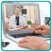 Doctor on computer screen for telehealth appointment