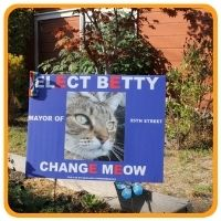 Campaign yard sign for Betty the Cat